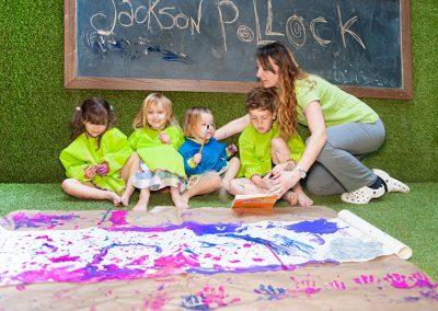 Laboratorio di pittura, tema Jackson Pollock
