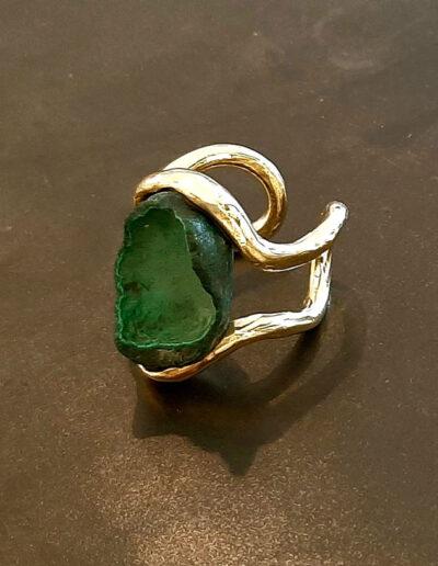 anello FUSAKO, in bronzo con pietra malachite