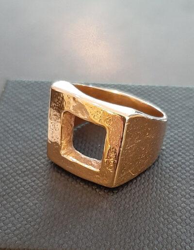 anello THE SQUARE, anello in bronzo rosa di Exati Jewels