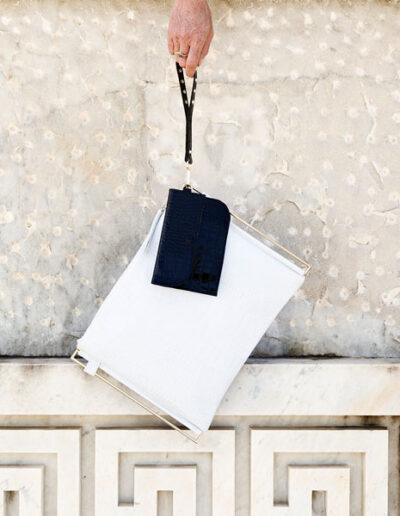 Zoe bianca con clutch a contrasto Ecletta Roma