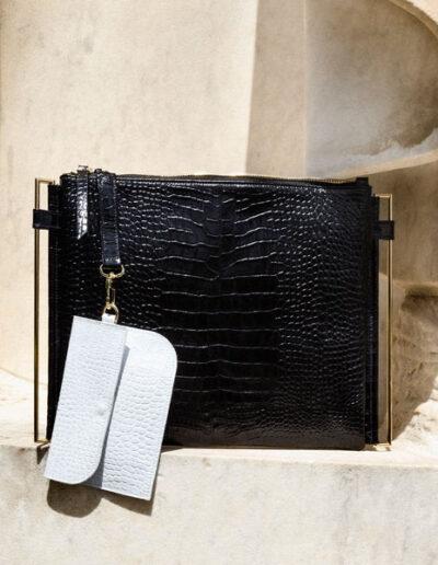 Zoe nera con clutch a contrasto Ecletta Roma