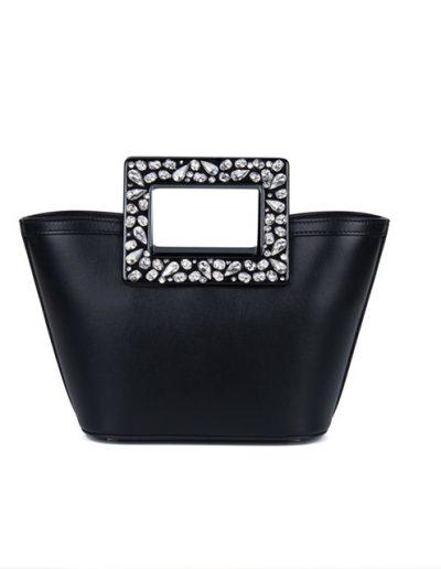 Borsa Micro Riviera in nappa nera con cristalli Swarovski